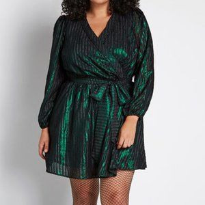 Modcloth Green Black Your Time to Shine Mini Dress